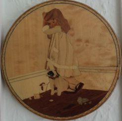 In Disgrace - my second marquetry picture made 1992. Most of the floor and left side skirting board sanded through - then came the best lesson I ever had!