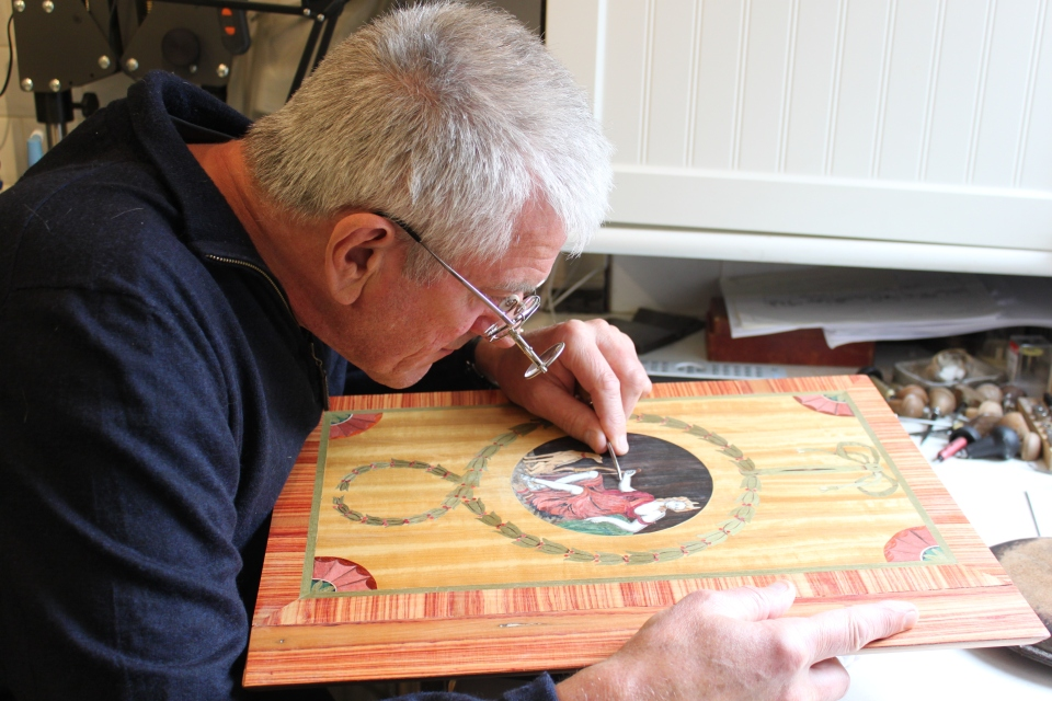 Engraver Malcolm Long working on Diana.