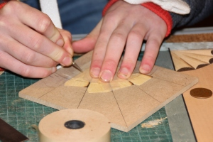 Alex cutting a corner fan using the template method