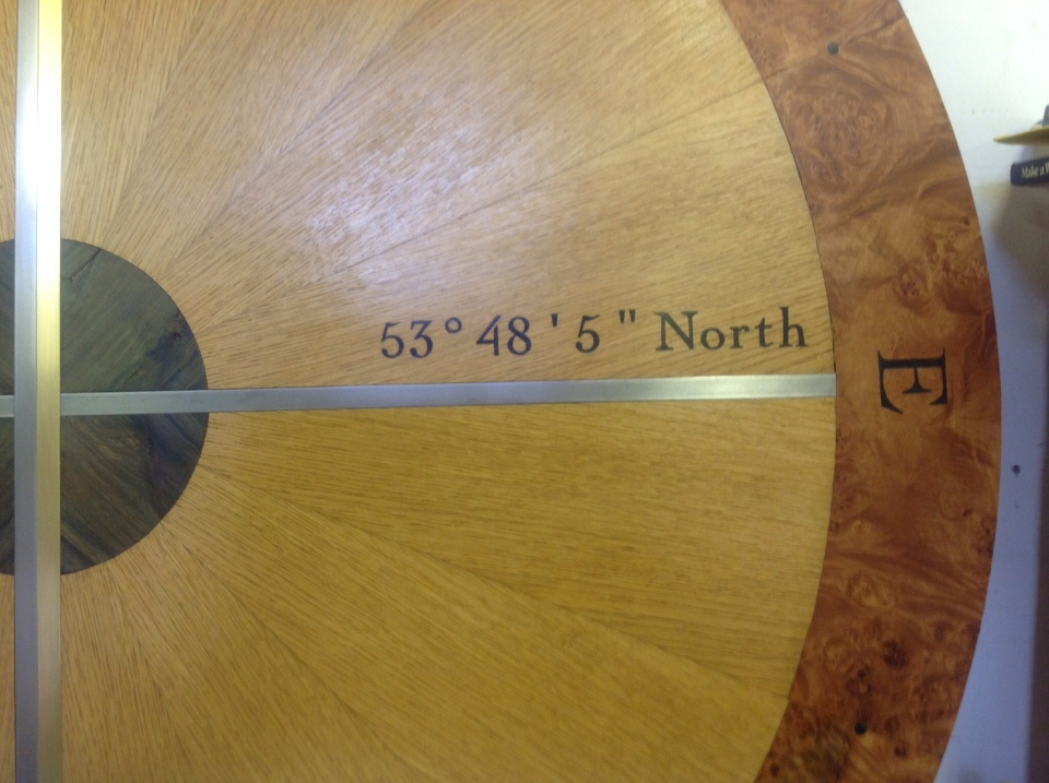 Bearing North showing degrees, minutes and seconds.