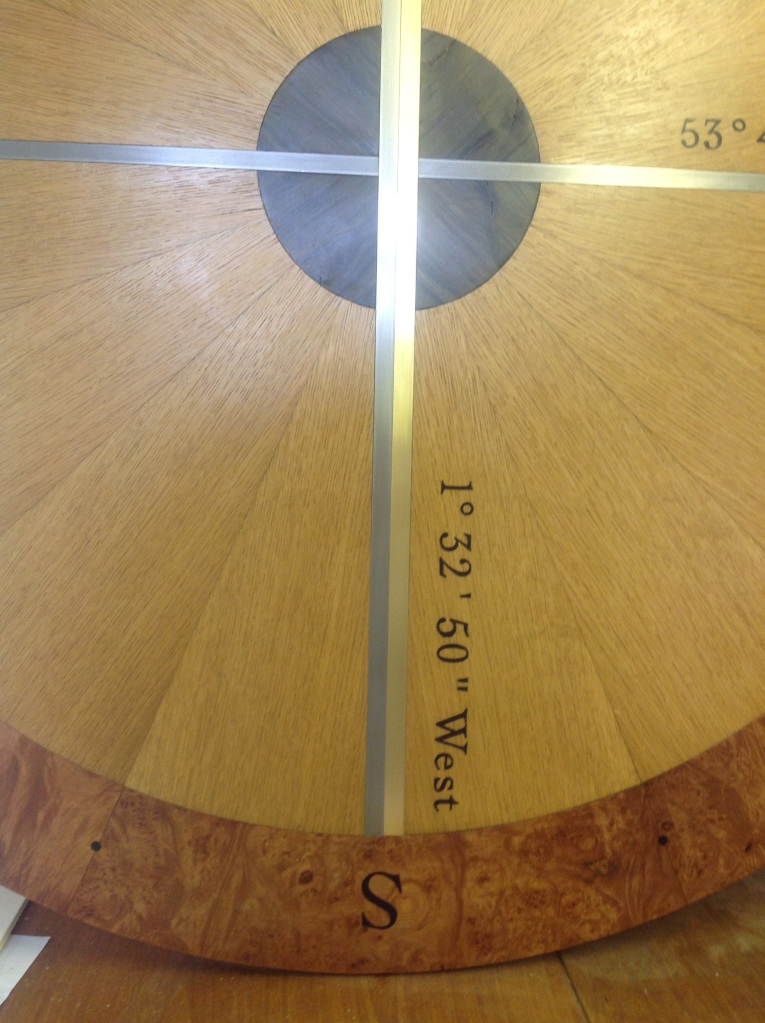Marquetry showing the same information to measuring the West.