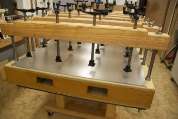 Three 10mm thick aluminium plates for heated press
